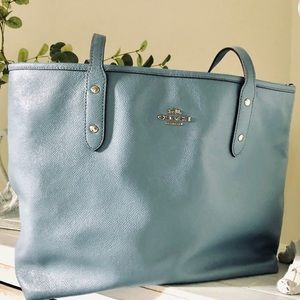 Baby Blue Coach Taxi Zip Top Tote